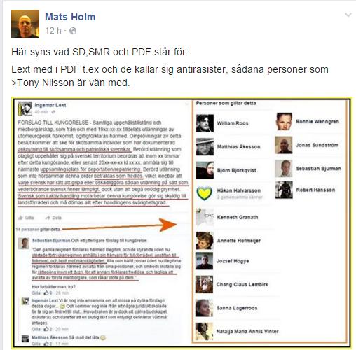 Mats Holm publicerade det här offentligt och dà lägger jag ut det ocensurerat.